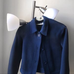uniqlo navy blue collar crop jacket